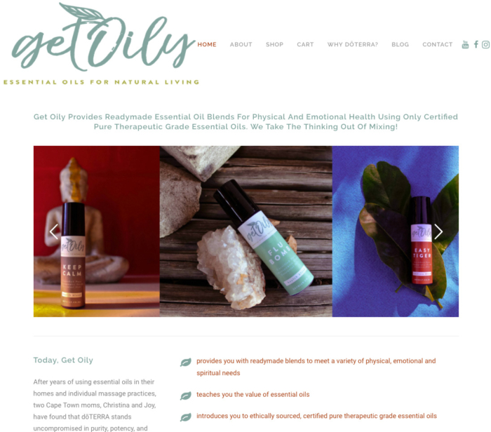 Get Oily Wordpress eCommerce Website