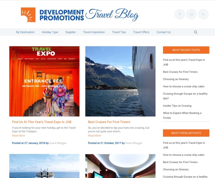 DevProm Travel Blog Wordpress website
