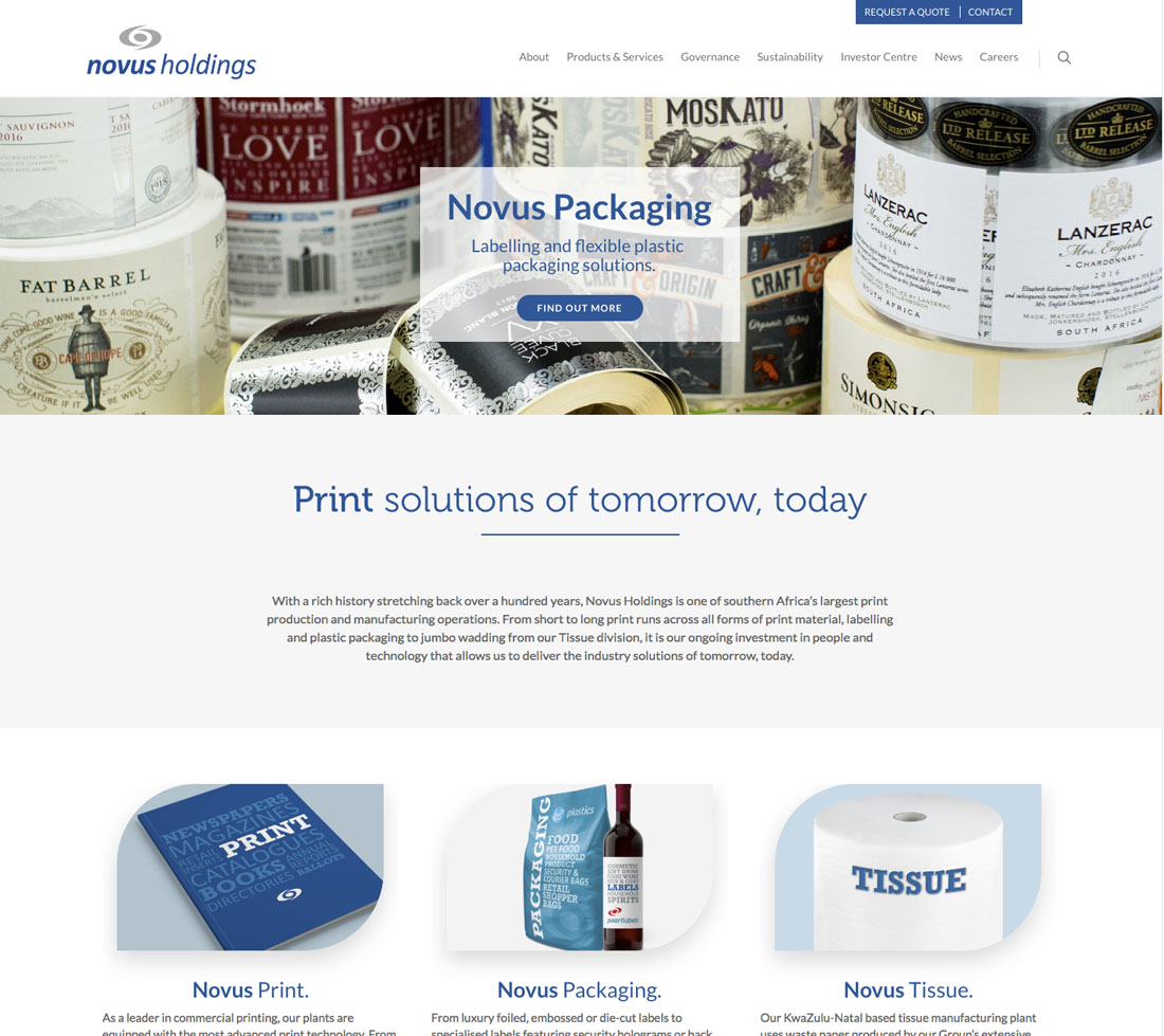 novus holdings wordpress website